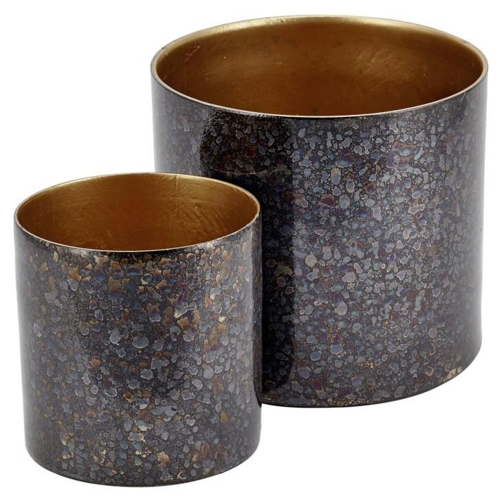 Doniczka metalowa szaro złota 10.5 cm LIV-INTERIOR 112.100.93/2