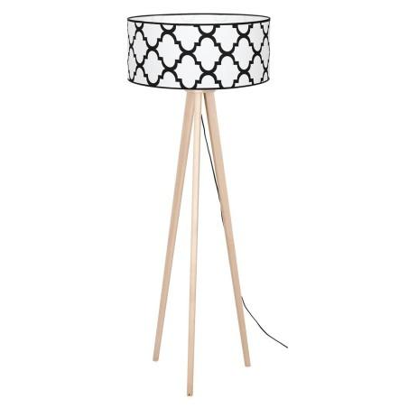 Lampa podłogowa trójnóg PIERRE WHITE, drewniana