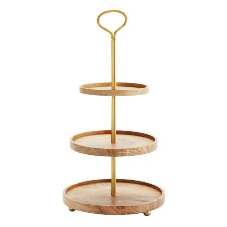 Patera GOLD na ciasto i owoce, etażerka trzypoziomowa, metalowa, drewniana