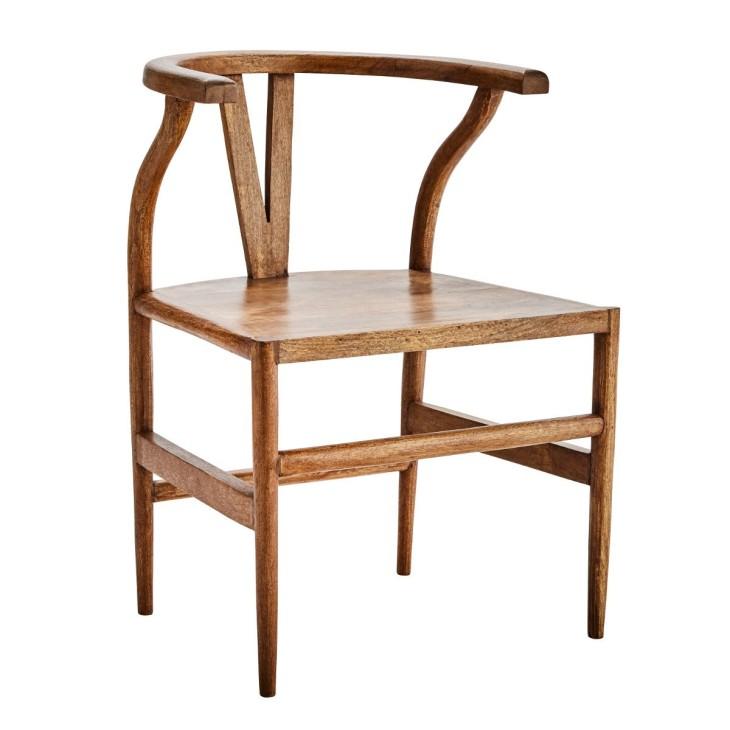 Krzesło WOODEN CHAIR, z oparciem do jadalni, do kuchni, drewno mango Madam Stoltz K018