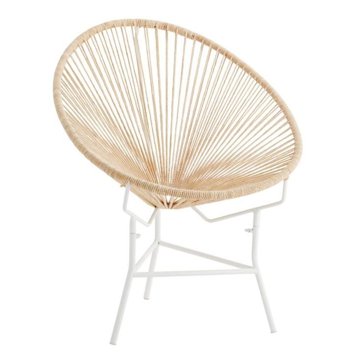 Krzesło ROPE, metalowe, sznurkowe, białe, fotel na taras Madam Stoltz FECH-0051
