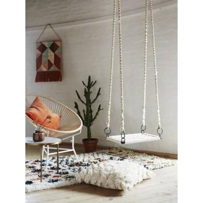 Krzesło ROPE, metalowe, sznurkowe, białe, fotel na taras