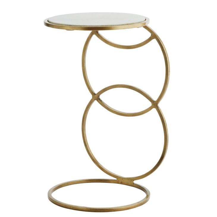 Stolik CONSOLE, stolik pomocniczy, mosiądz, marmurowy blat Madam Stoltz H018WM