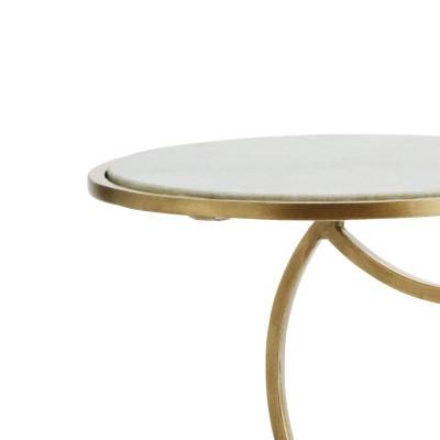 Stolik CONSOLE, stolik pomocniczy, mosiądz, marmurowy blat