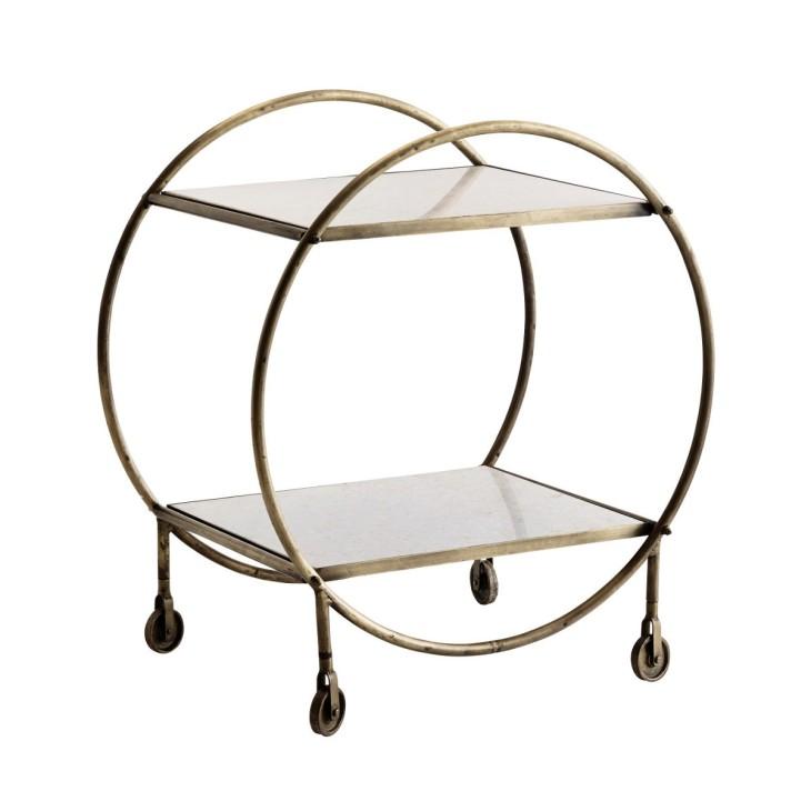 Barek na kółkach TROLLEY, mobilny stolik pomocniczy, metal, marmur Madam Stoltz F006BRS