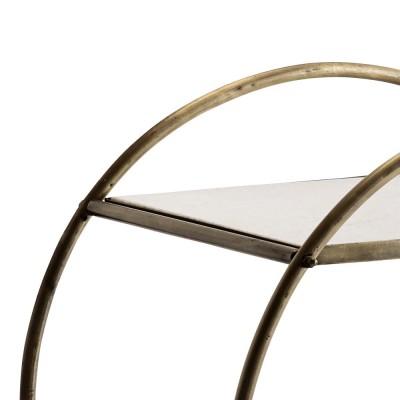 Barek na kółkach TROLLEY, mobilny stolik pomocniczy, metal, marmur