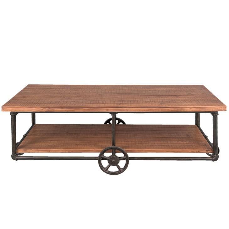 Stolik kawowy INDUSTRIAL drewniany, metalowy Clayre & Eef 5H0367