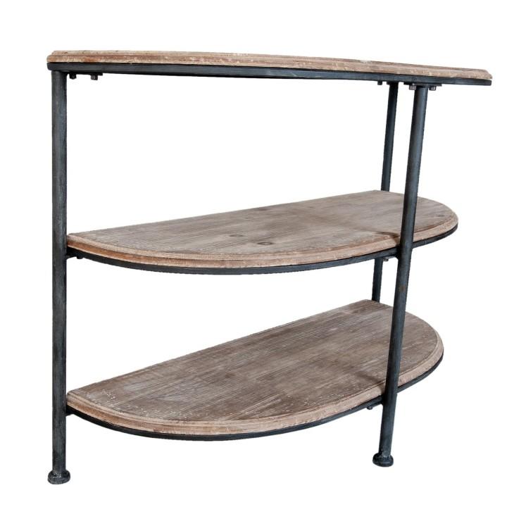 Konsola BROWN, drewniana, metalowa, półokrągła półka Clayre & Eef 5H0252