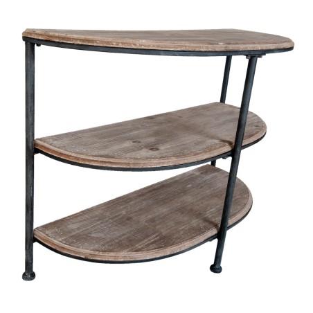 Konsola BROWN, drewniana, metalowa, półokrągła półka