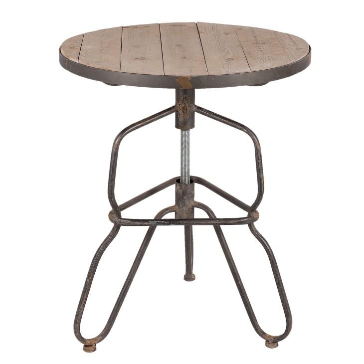 Stół okrągły LOFT metalowy, stolik drewniany Clayre & Eef 5Y0367