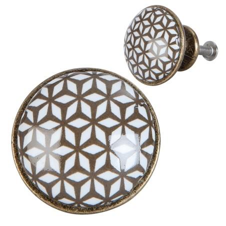 Gałka do mebli ceramiczna metalowa brązowa biała