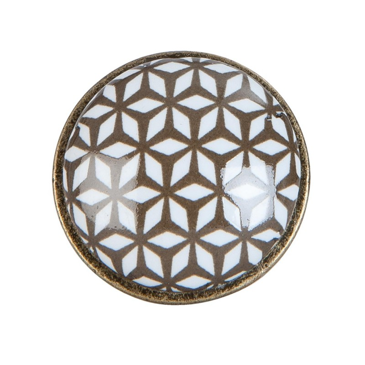 Gałka do mebli ceramiczna metalowa brązowa biała Clayre & Eef 63424