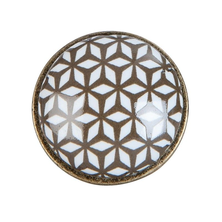 Gałka meblowa brązowa, kolonialna ceramiczna metalowa Clayre & Eef 63424