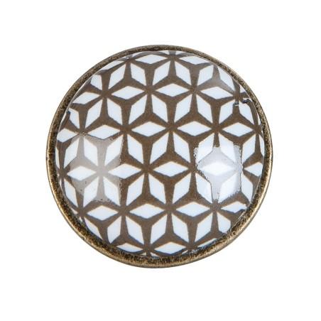 Gałka meblowa brązowa, kolonialna ceramiczna metalowa