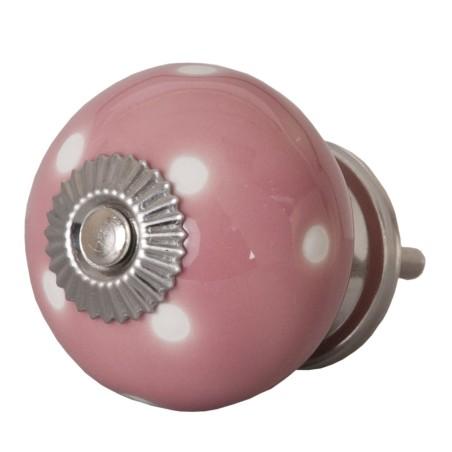 Różowa gałka do mebli ceramiczna w białe kropki