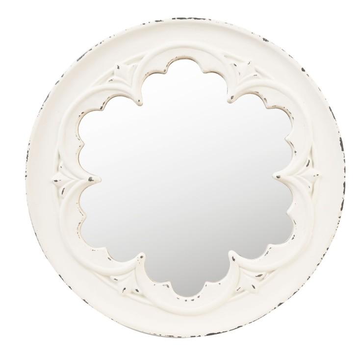 Lustro wiszące ROSETTE prowansalskie okrągłe białe postarzane Clayre & Eef 62S119W