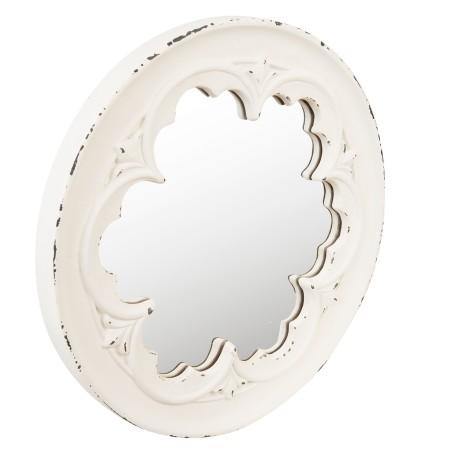 Lustro wiszące ROSETTE prowansalskie okrągłe białe postarzane
