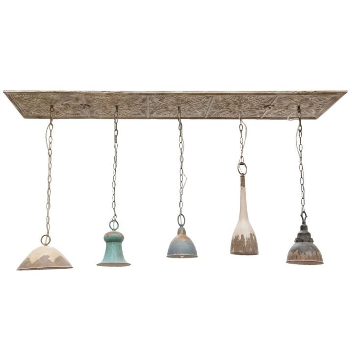 Lampa wisząca z 5 abażurami Clayre & Eef