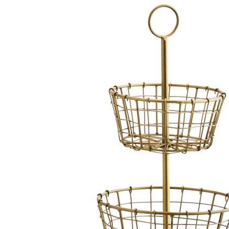 Etażerka metalowa ANTIQUE, złota trzypoziomowa, kosz na owoce, patera metalowa