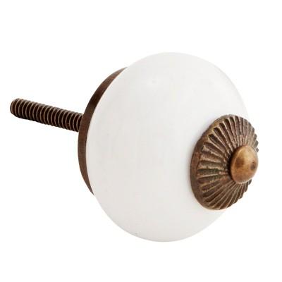 Gałka meblowa biała ceramiczna