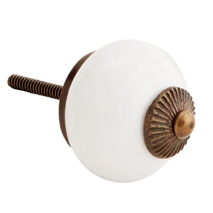Gałka do mebli ceramiczna biała Madam Stoltz TA5024