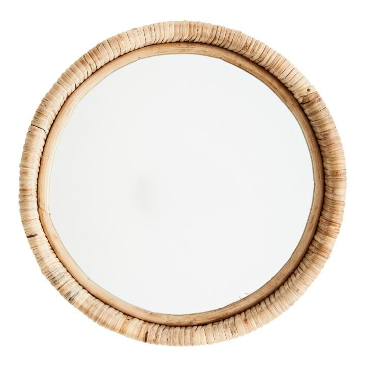 Lustro wiszące BAMBOO okrągłe, bambusowe 30 cm Madam Stoltz 23325N