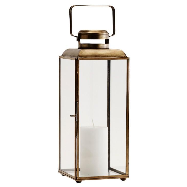 Lampion metalowy BRASS, latarnia złota, lampion ogrodowy Madam Stoltz PCH11682ABR