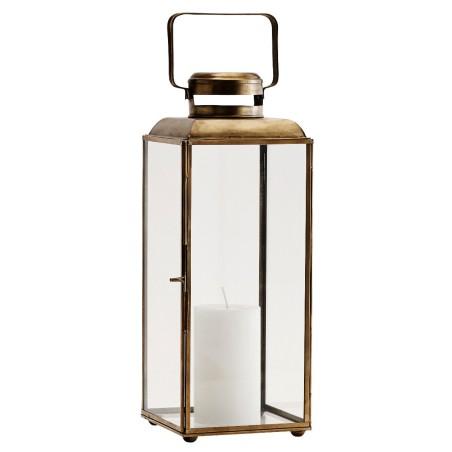 Lampion metalowy BRASS, latarnia złota, lampion ogrodowy