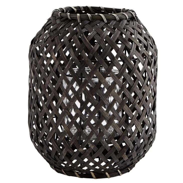 Lampion bambusowy NOIR, latarnia ogrodowa czarna Madam Stoltz FN18-2453