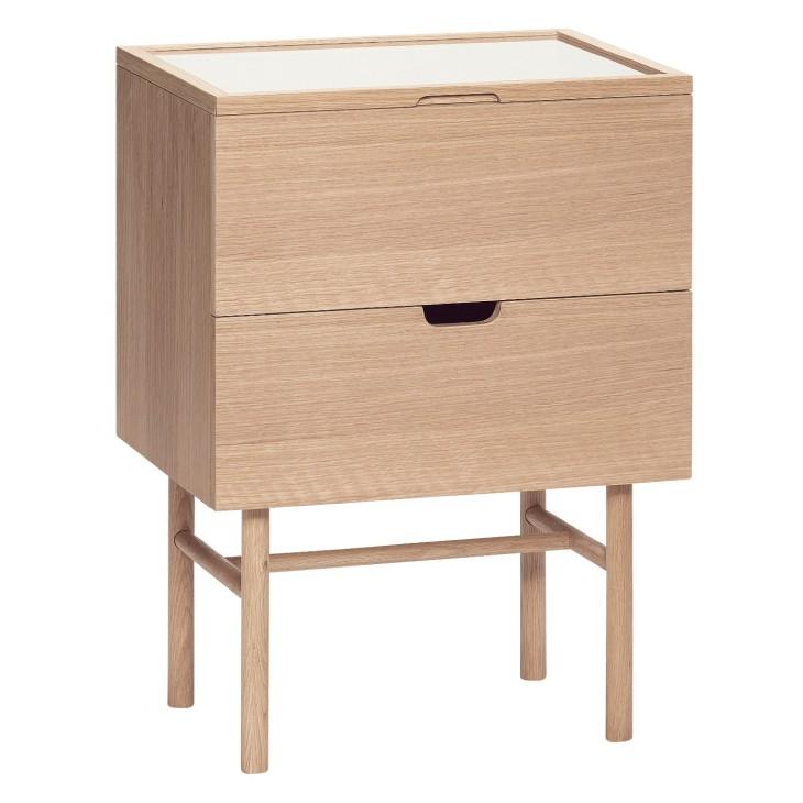 Szafka nocna drewniana NARVIK szklany blat, dębowa Hubsch 880604