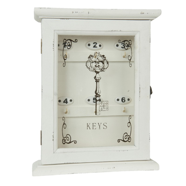 Szafka na klucze drewniana ozdobna z numerami biała Clayre & Eef 6H0903