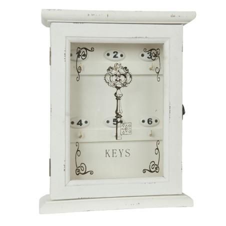 Szafka na klucze drewniana ozdobna z numerami biała