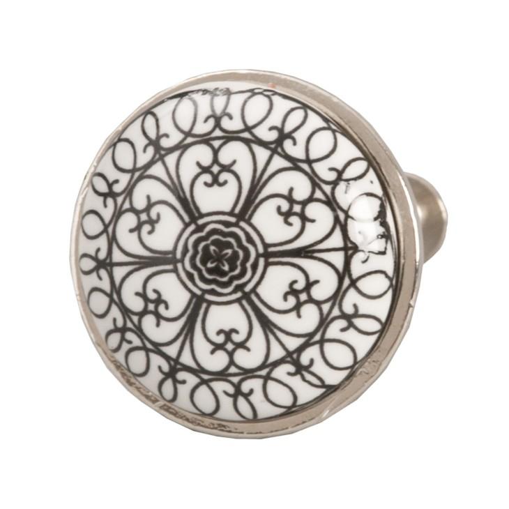 Gałka do mebli ceramiczna z hiszpańskim wzorem Clayre & Eef 61887