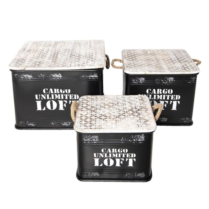 Skrzynki metalowe LOFT, zestaw 3 sztuki pojemniki do przechowywania Clayre & Eef 5Y0540
