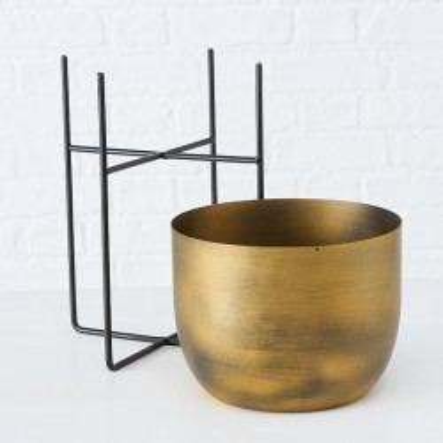 Doniczka na stojaku metalowa GADAL L, złota