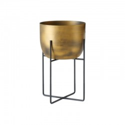 Doniczka metalowa GADAL L na stojaku, złota
