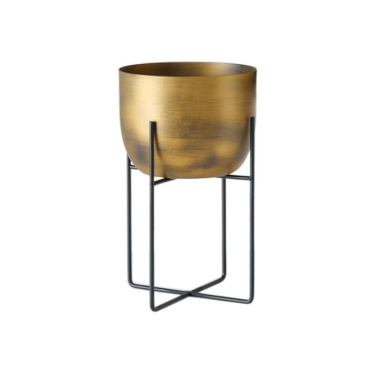 Doniczka metalowa GADAL L na stojaku, złota Boltze 1022150.1