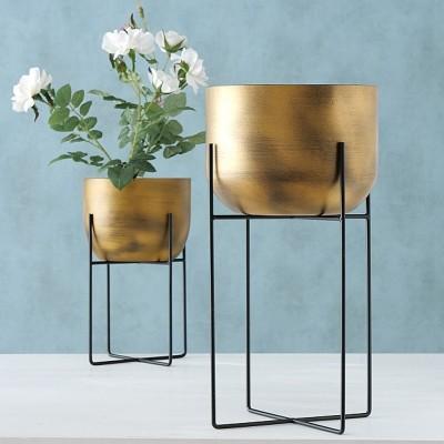 Doniczka na stojaku metalowa GADAL XL, złota