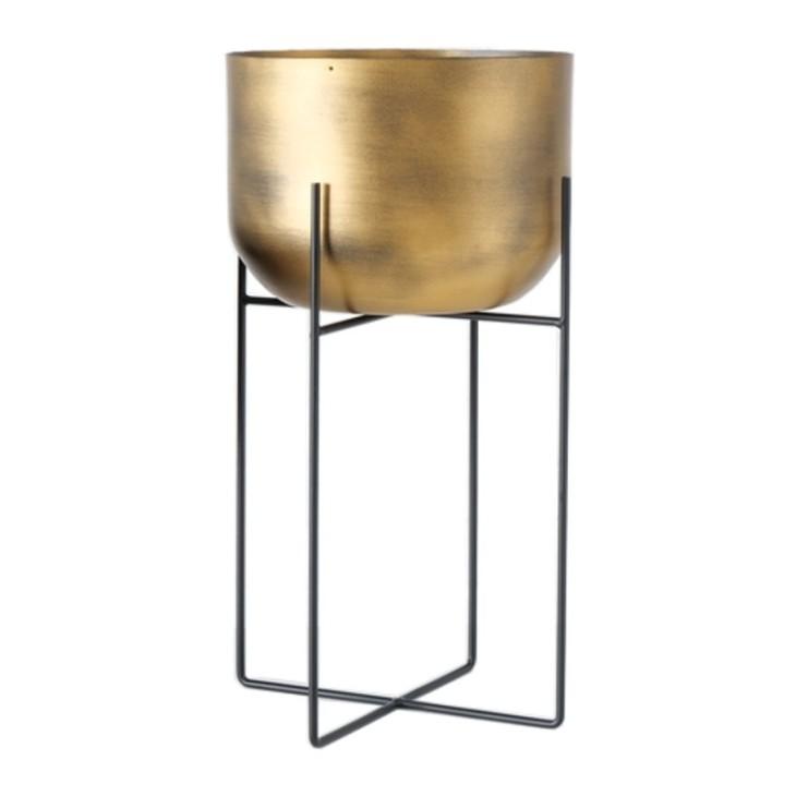 Doniczka na stojaku metalowa GADAL XL, złota Boltze 1022150.2