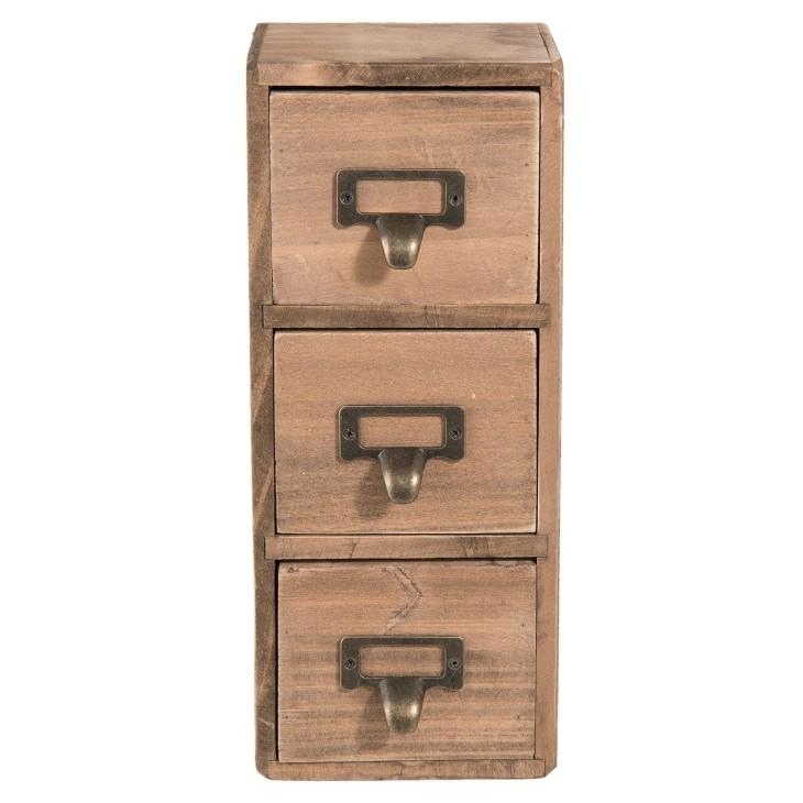Pojemnik do przechowywania z szufladami, mini komoda drewniana Clayre & Eef 6H1565