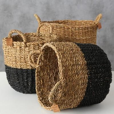 Kosze z trawy morskiej okrągłe SOPHIAN - zestaw 3 sztuki
