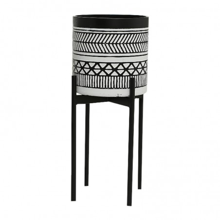 Donica metalowa na stojaku BAHIA XL, kwietnik metalowy czarny