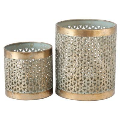 Lampion metalowy COSIMA XL,L ażurowy złoty-zestaw 2 sztuki