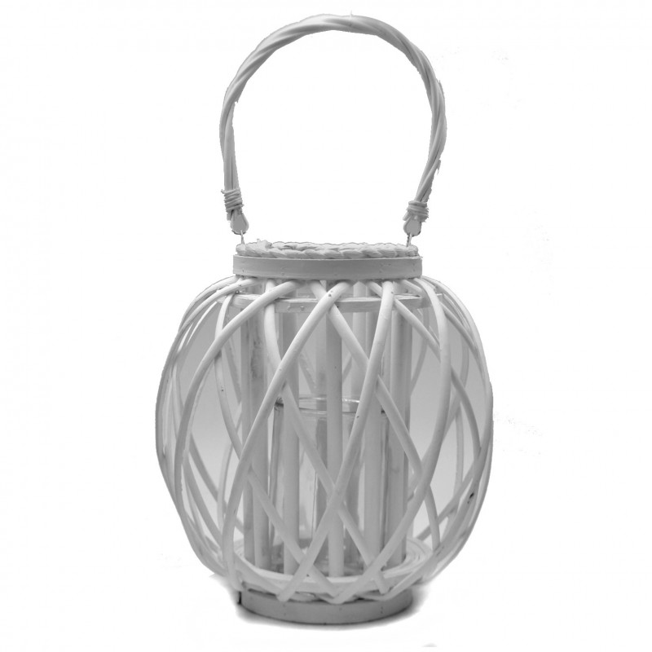 Lampion wiklinowy biały TERAZZA 28 cm Arte Regal 38608
