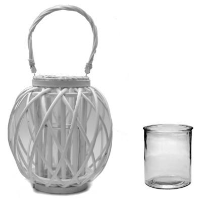 Lampion wiklinowy biały TERAZZA 28 cm