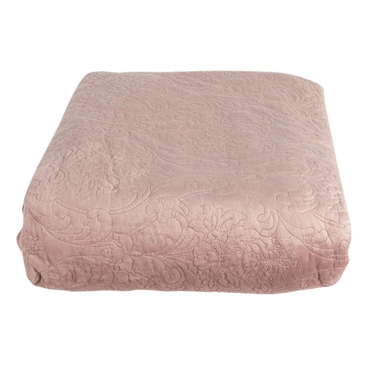 Narzuta na łóżko pudrowy róż dwustronna 180 x 260 z dwiema poszewkami na poduszkę 40 x 40 Clayre & Eef QS060.005