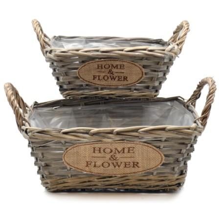 Doniczki wiklinowe kosze HOME & FLOWER zestaw 2szt