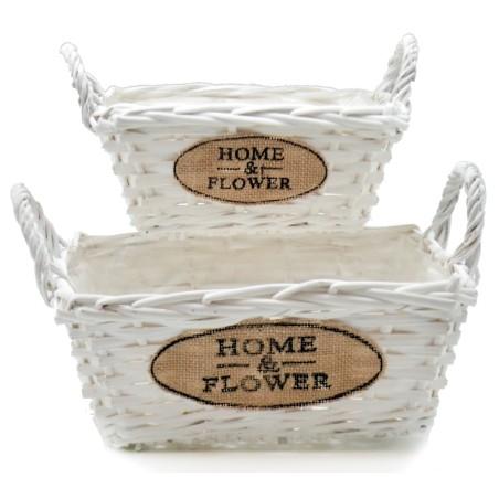 Doniczki wiklinowe białe kosze HOME & FLOWER zestaw 2szt