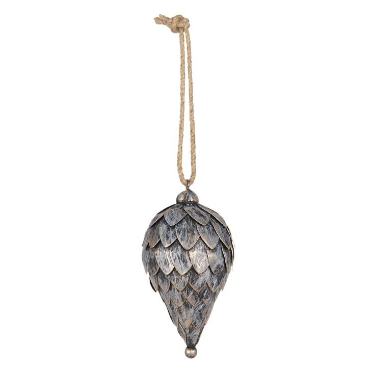 Bombka choinkowa SZYSZKA duża metalowa złota srebrna Clayre & Eef 6Y3747
