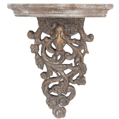 Półka drewniana rzeźbiona postarzana